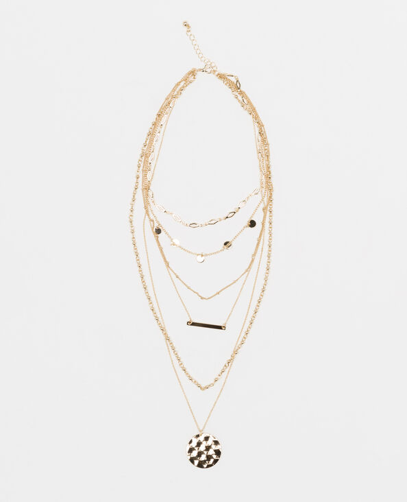 Halssnoer met verschillende kettingen goudkleurig