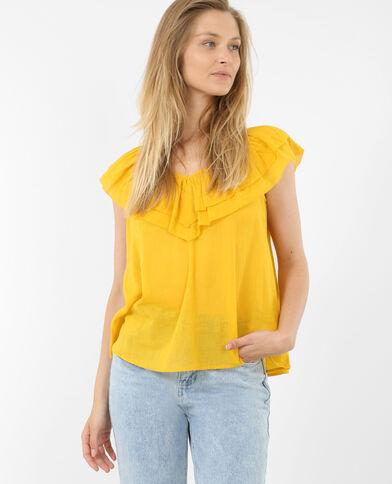 Top à volants jaune moutarde