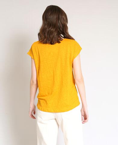 T-shirt van linnen geel