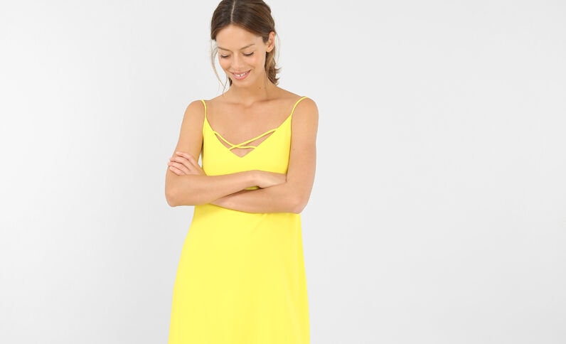Gekruiste jurk geel
