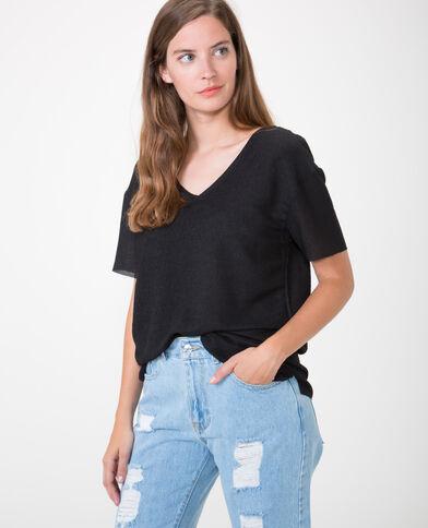 T-shirt met structuur zwart