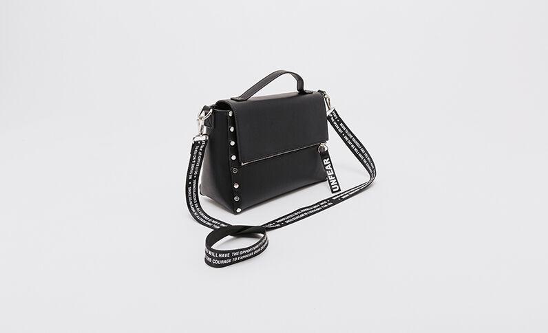 Tas met studs in boekentasmodel zwart