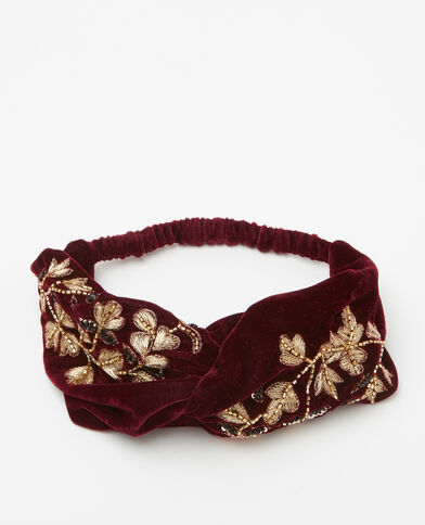 Headband velours broderies et perles rouge