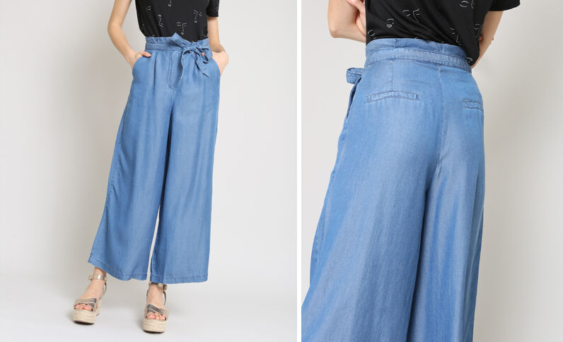 Pantalon fluide large bleu denim