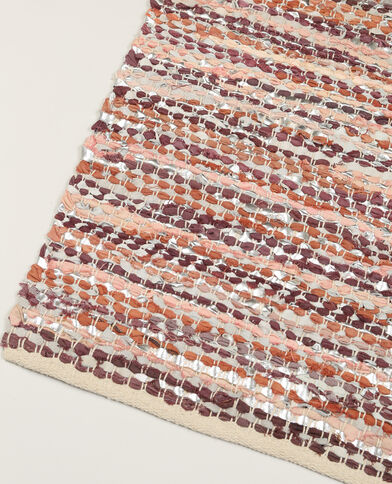 Geweven tapijt van leer Beige