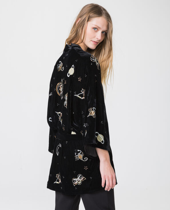 Kimono uit velours met print zwart