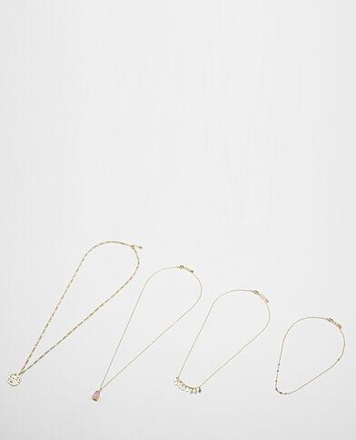 Set van 4 halskettingen geel