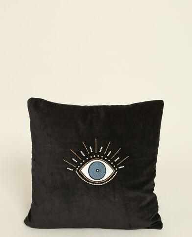 Kussenhoes met velourseffect zwart