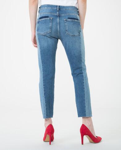 Tweekleurig skinny jeans denimblauw