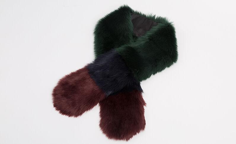 Driekleurige sjaal van nepbont kaki