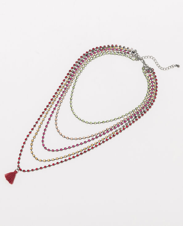 Collier strass multirangs gris argenté