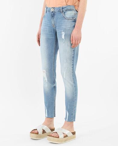 Destroyed 7/8-skinny jeans blauw
