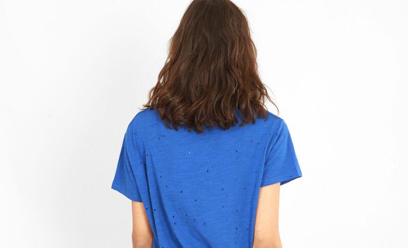 T-shirt destroy bleu électrique