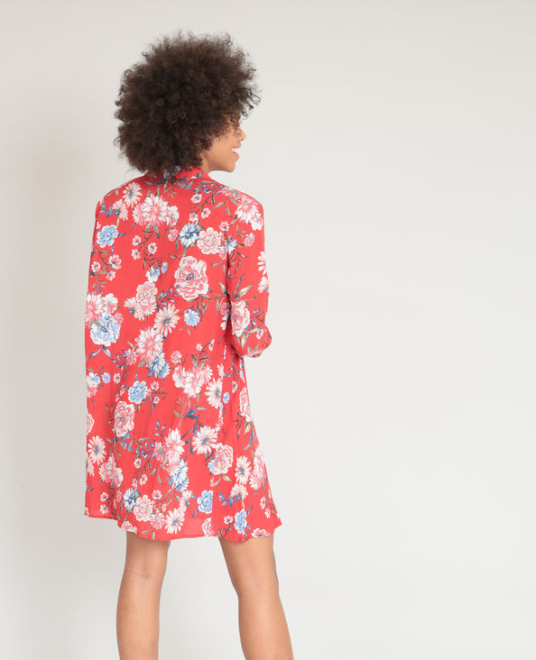 Robe chemise fleurie rouge