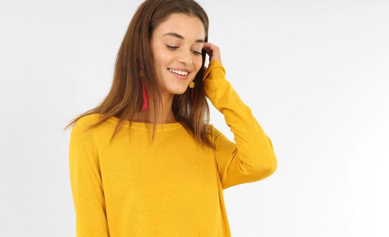 Pull basique léger jaune moutarde