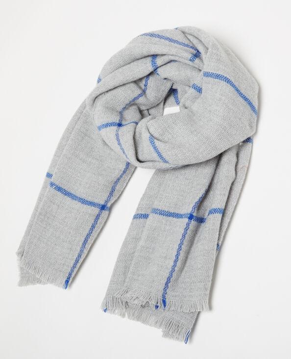 Lange sjaal met ruitjes grijs