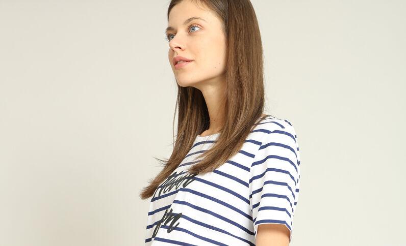 T-shirt met strepen marineblauw