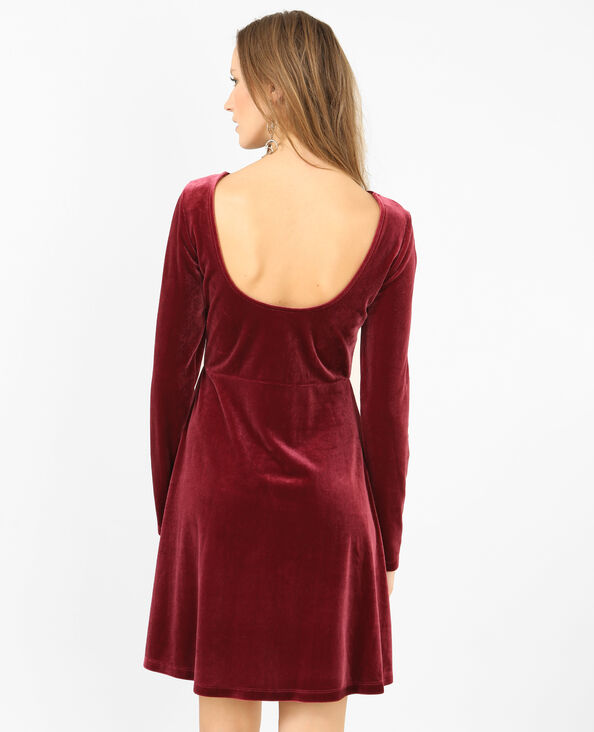 Fluwelen jurk granaatrood