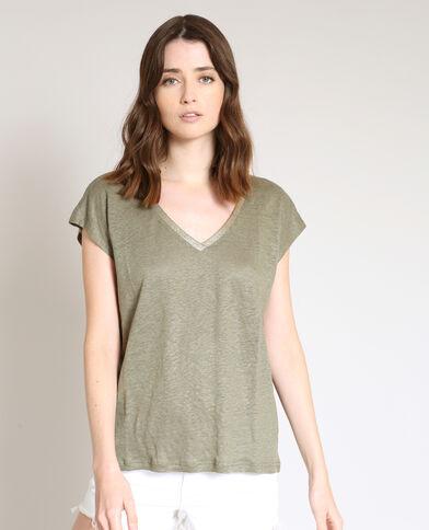 T-shirt van linnen groen