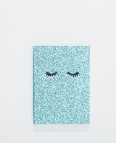 Notebook met glitters blauw