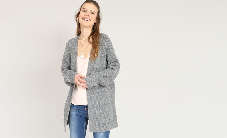 Vest van warm tricot gemêleerd grijs