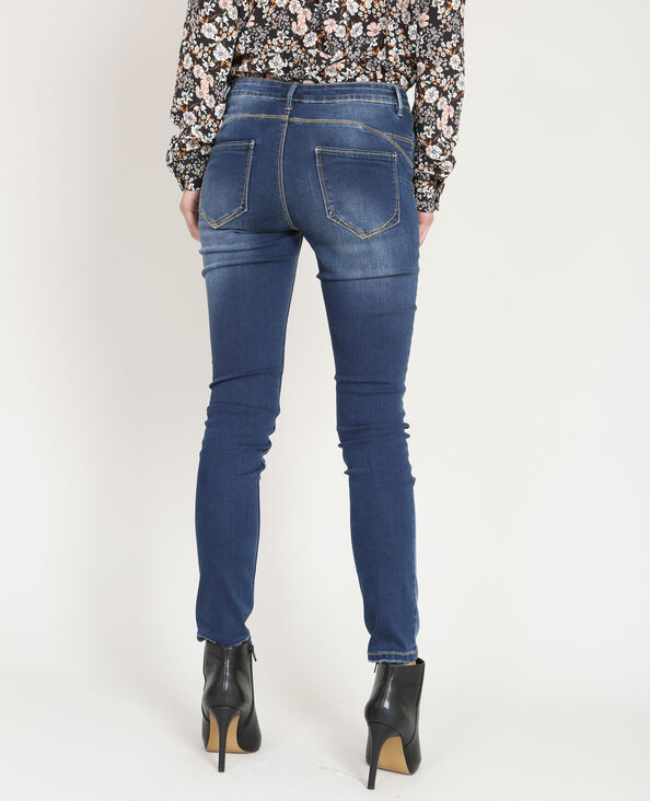 Push-up skinny jeans met destroyed effect blauw