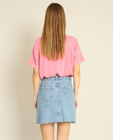 Croptop met korte mouwen roze