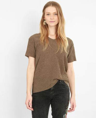 T-shirt met structuur kaki