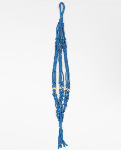 Hangertje van macramé zeeblauw