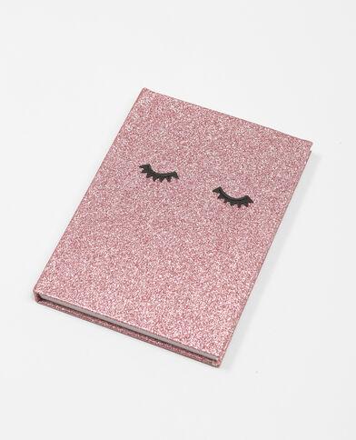 Notebook met glitters roze
