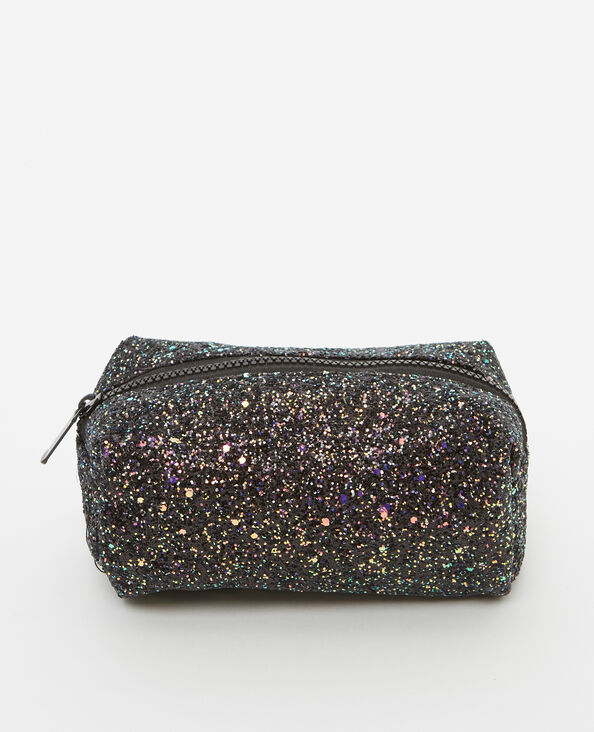 Make-uptasje met glitters zwart