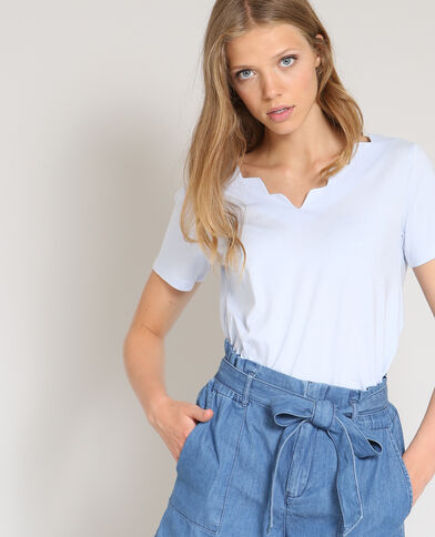 T-shirt à col V bleu