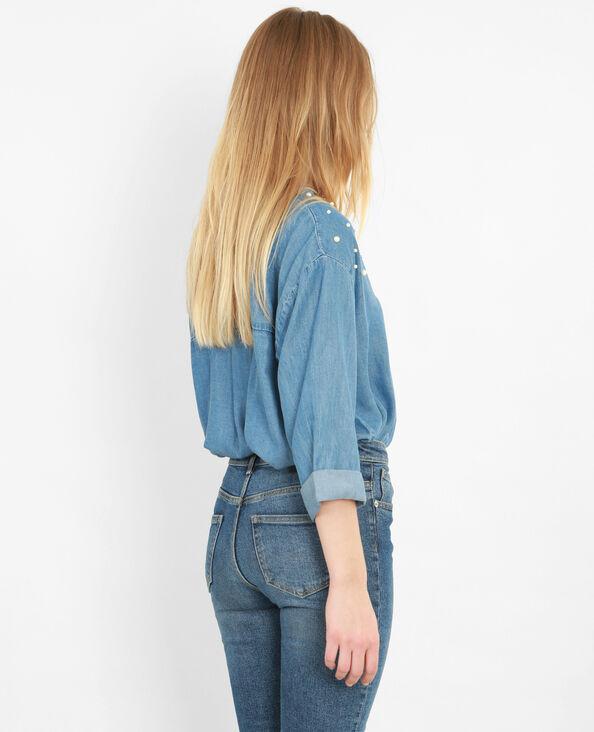 Soepelvallende blouse met parels blauw