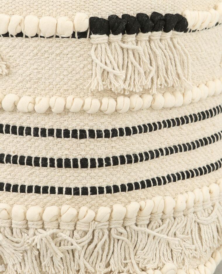 Cache-pot à franges blanc