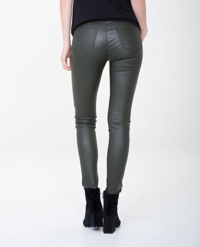 7/8-skinny met coating kaki