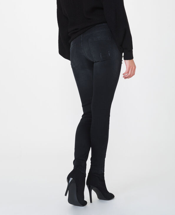 Skinny mid waist à perles noir
