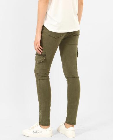 Pantalon skinny cargo kaki