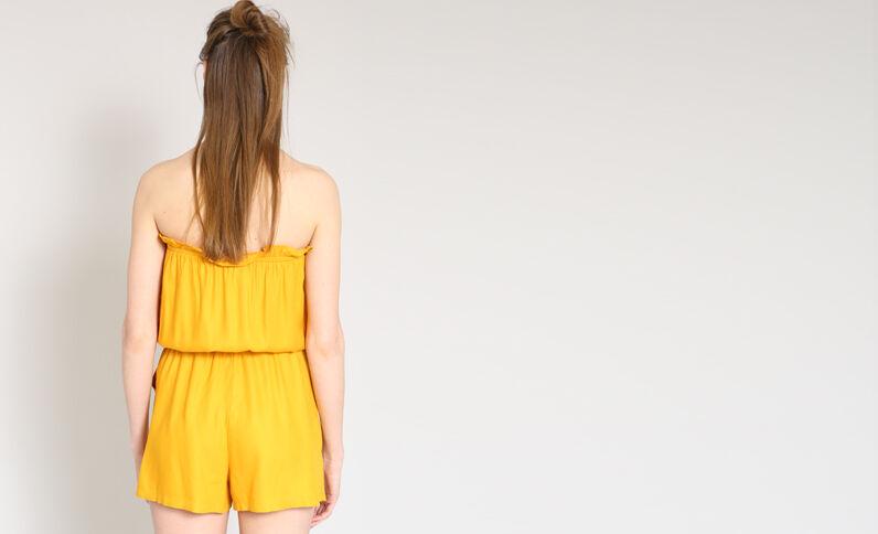 Playsuit in bustiermodel geel
