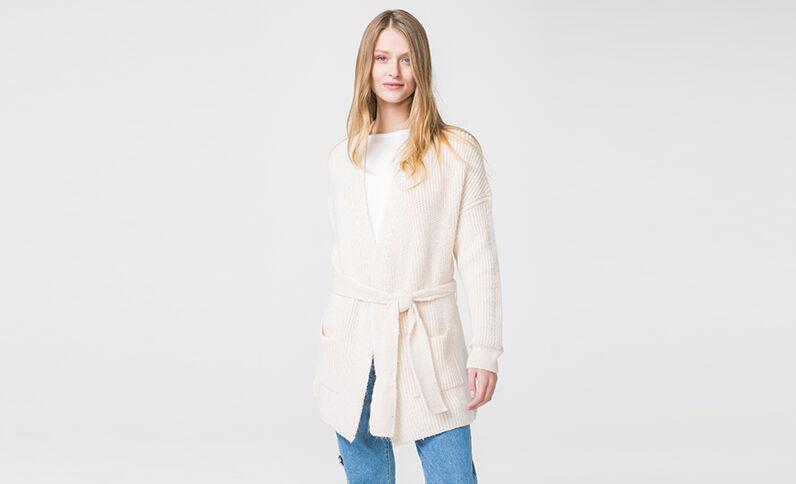 Warme blazer poederbeige