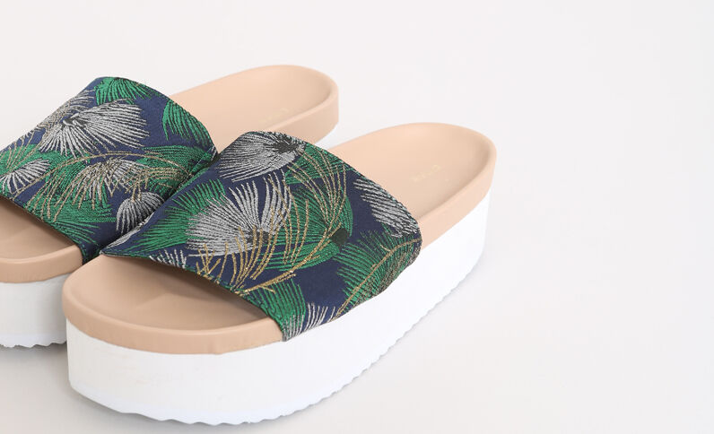 Sandales à plateforme bleu vert