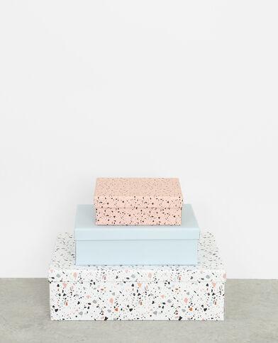Set van drie dozen met terrazzomotief blauw
