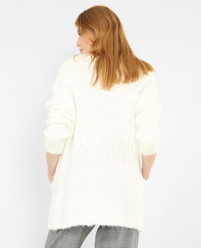 Fluffy cardigan gebroken wit