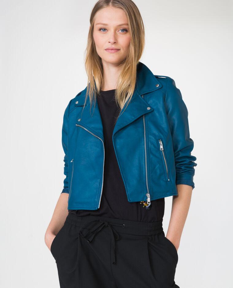 veste en simili cuir bleu canard 323174b36a06 pimkie. Black Bedroom Furniture Sets. Home Design Ideas