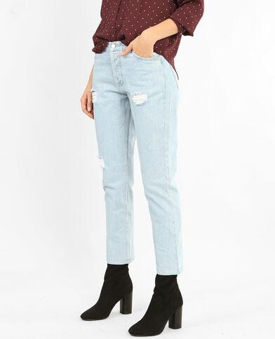 Mom jeans met destroyed effect Lichtblauw