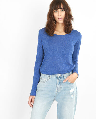 T-shirt maille chinée bleu électrique