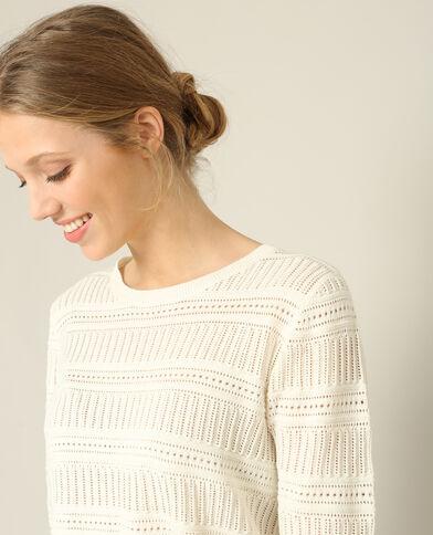 Opengewerkte trui gebroken wit