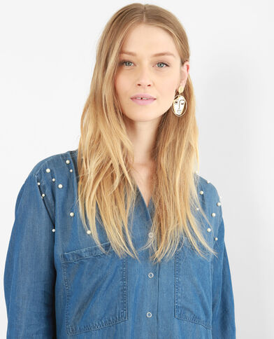 Hemdjurk met parels blauw