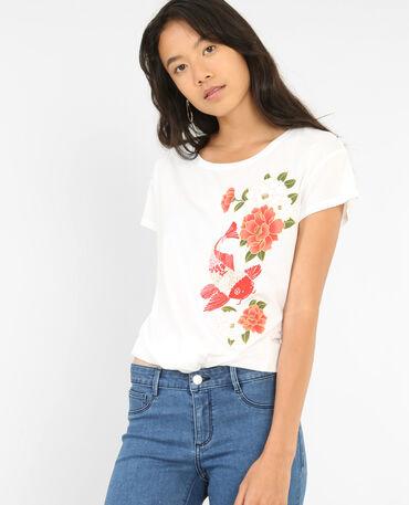 T-shirt imprimé à nouer blanc