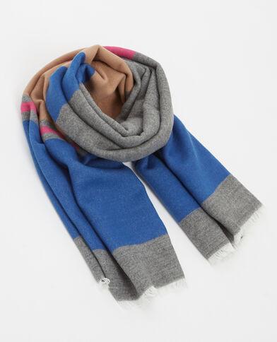 Sjaal met kleurrijke bandjes blauw