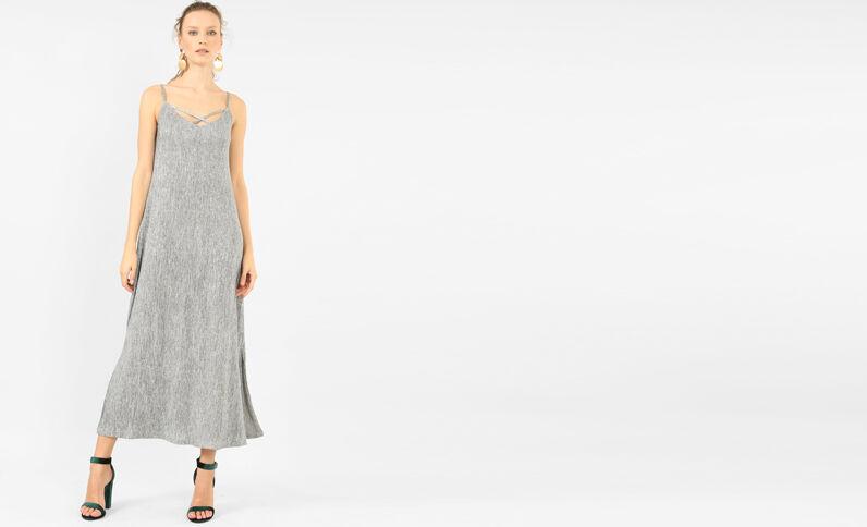 Robe longue texturée gris